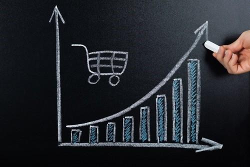 graphe montrant une courbe croissante de taux d'achat pour site e-commerce